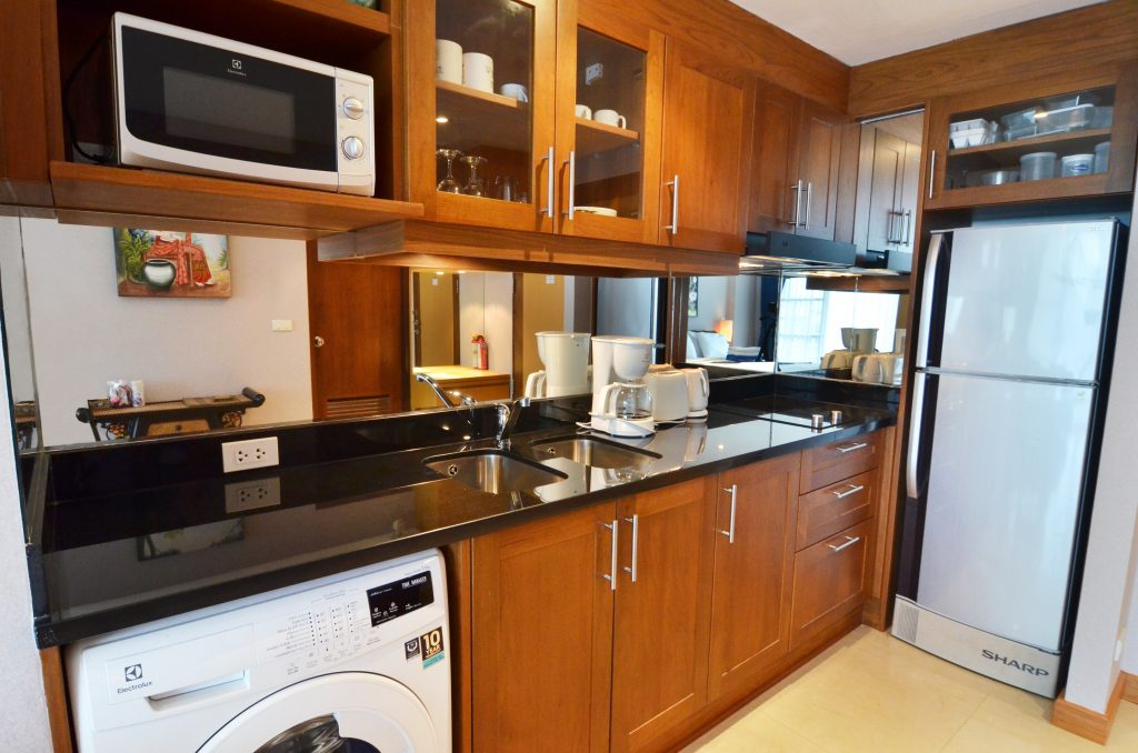 Teak kitchen, washing machine