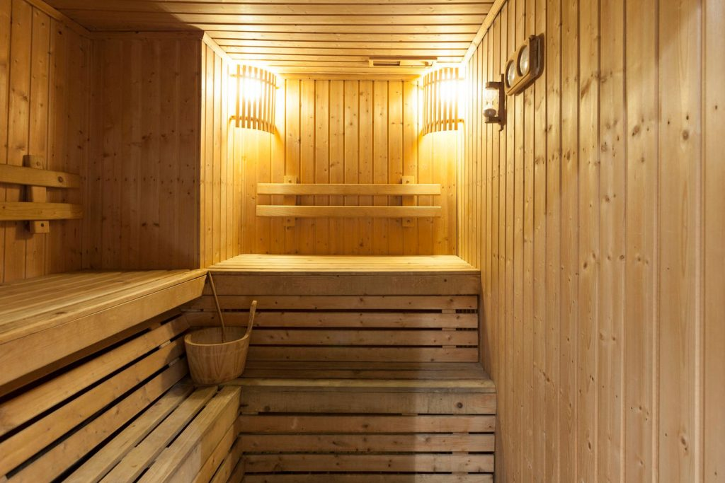 His & hers saunas with large bathrooms & full showers